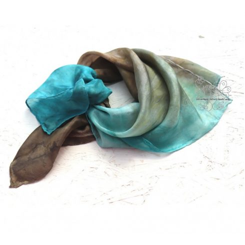 Balaton-part hernyóselyem női kendő, kék barna női selyemkendő