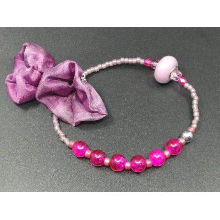 Pink levendula bohém karkötő, készíts magadnak boho tavaszi karkötőt