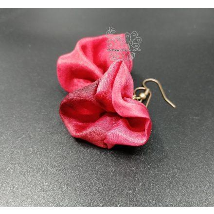 Piros bohém virág fülbevaló Frida Kahlo inspiráció