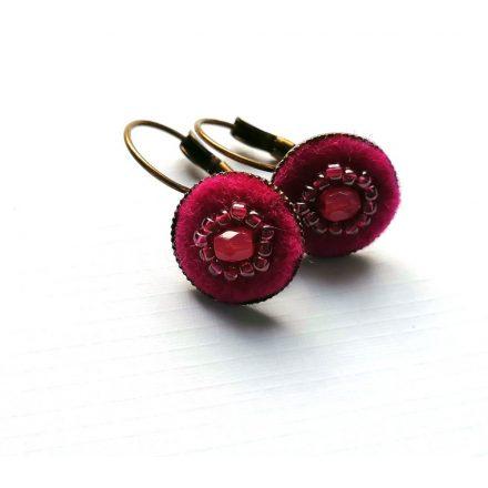 Bohém pötty fülbevaló, pink bohém textil ékszer