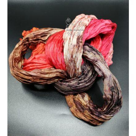 Gyűrt hosszú selyem sál, őszi színek női selyem sál