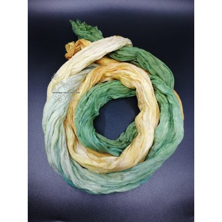 Gyűrt hosszú selyem sál, őszi levelek női selyem sál
