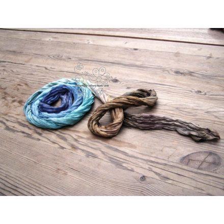 Hosszú női selyem sál, divatos gyűrt sál barna - kék
