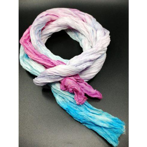 Gyűrt női selyem sál, hosszú, divatos, rózsaszín kék pasztell