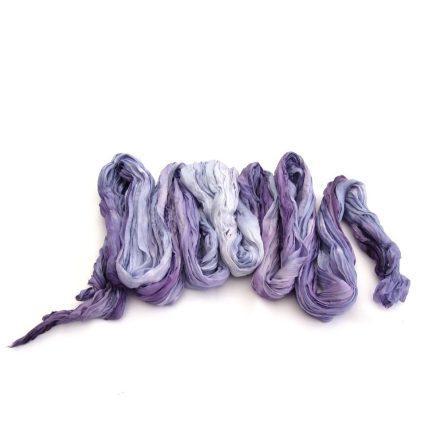 Levendula lila ráncos női sál, hosszú női selyem sál
