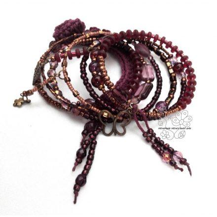 Padlizsán bohém karkötő lila bronz árnyalatban. Rendelhető változatok