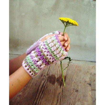 Horgolt bohém női kézmelegítő kesztyű rózsaszín