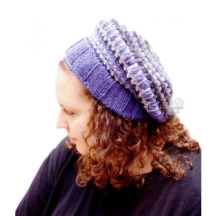 Farmer kék női barett sapka, horgolt bohém sapka