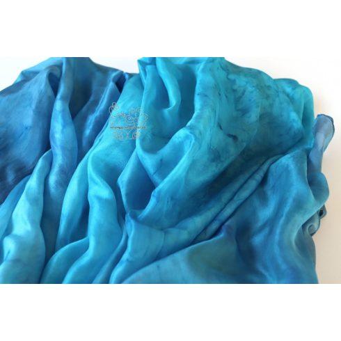 Kék színátmenetes óriás selyem sál, hernyóselyem stóla
