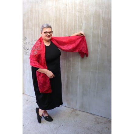 Csók női hernyóselyem sál, piros selyem stóla