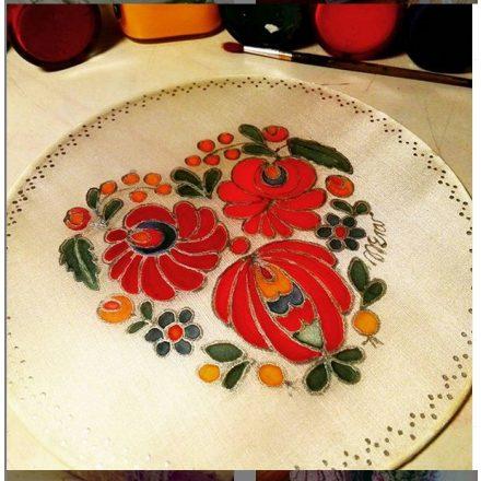 Anyáknapi ajándék Matyó minta selyemre festve
