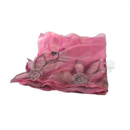 Pink virágos nuno nemez sál, női gyapjú sál, virágos selyem sál