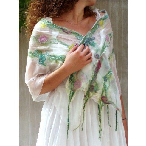 Romantikus női selyem sál gyapjúval, boho nuno nemez sál virágokkal