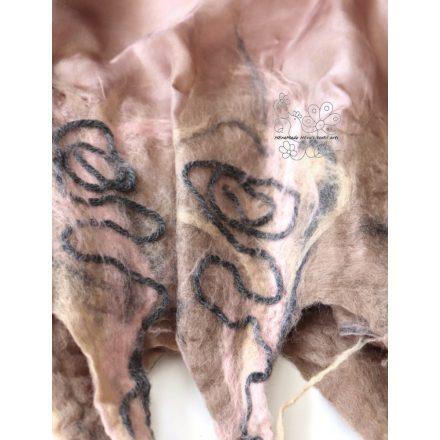 Bézs nuno nemez sál, női selyem gyapjú sál