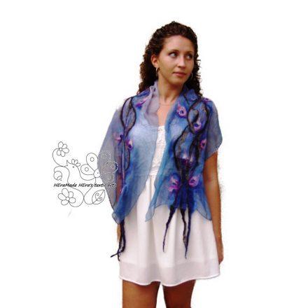 Kék indás virágos nuno nemez sál, női selyem sál