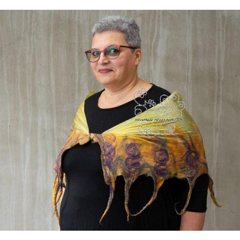 Mustár exkluzív női selyem sál gyapjúval, nuno nemez sál