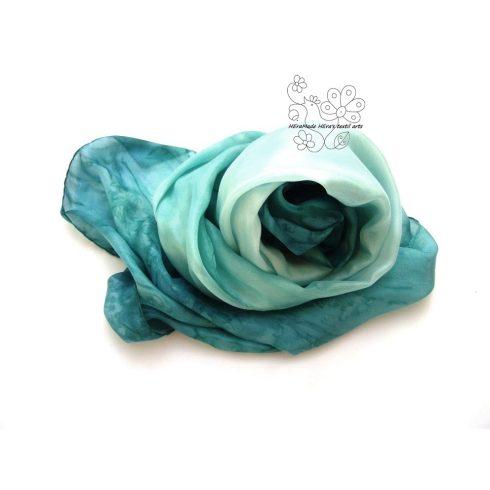 Lagúna női selyem stóla sál, türkizzöld hernyóselyem sál