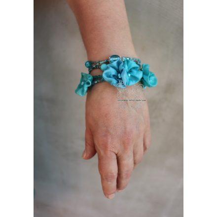 Türkiz boho női nyaklánc, boho virágos karkötő