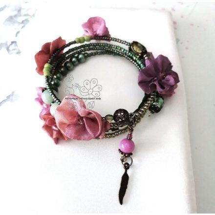 Tavasz színes virágos bohém karkötő