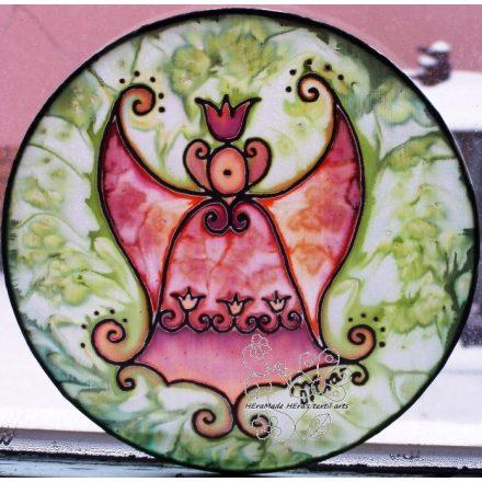 Harang angyal, kopogtató, selyem kép, ablakdísz