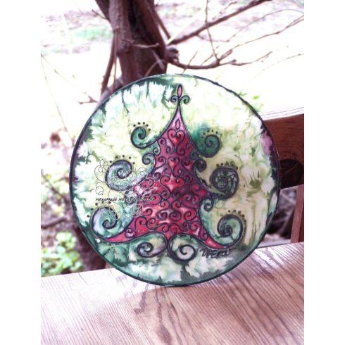 Fenyő ünneplőben selyemkép, ablakkép, karácsonyi dekoráció, kopogtató