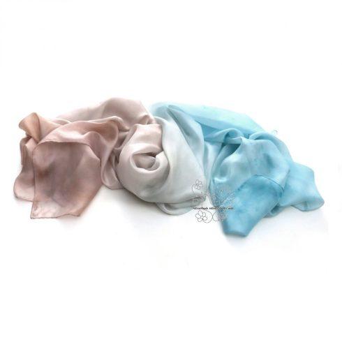 Pasztell női selyem sál,  kék bézs kézzel festett hernyóselyem sál