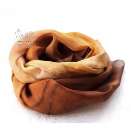 Grillázs  barna selyem sál, női selyem sál, kézzel festett hernyóselyem sál